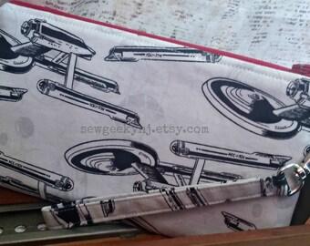 Star Trek Wristlet - Starship Enterprise Clutch - Zippered Pouch - NCC-1701 - OOAK - Custom Made