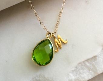 Peridot Necklace Gold, August Birthstone Peridot Necklace, Initial Necklace, Personalized Necklace Peridot Quartz, August Birthday Customize