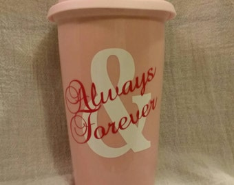 Reusable Porcelain Travel Mug with Silicone Lid - Always & Forever