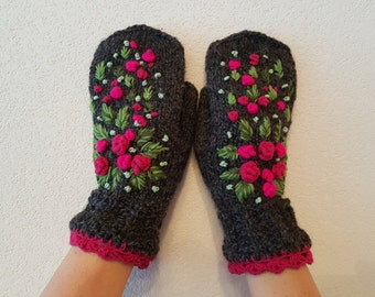 Hand knitted Fingerless Mittens Fashion,Gift Ideas, Roses,For Her,Winter Accessories,Gloves& Mittens