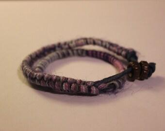 Double Wrap Woven Wool Bracelet