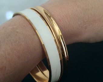 Set of 2 Monet Bangles Gold Filled and White Enamel