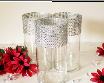 """Bling Centerpiece Wedding 8"""" (Set of 3) Flower Vases-Rhinestone Centerpieces, Floral Centerpieces, Bling Party Decorations, Candle Holders"""