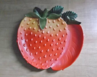 Figural Resin STRAWBERRIES Dish Plate