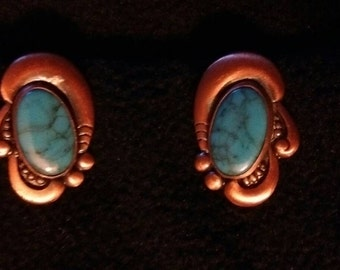 Copper turquoise clip on earrings