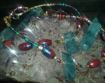 Quartz and golden swirls necklace