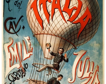 Vintage Italia Hot Air Balloon Advertising Poster Print