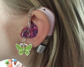 Butterfly Hearing Aid Jewelry - Please note if you want a pair your order quantity should be 2