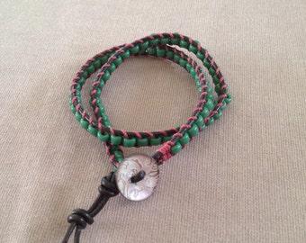 Green beaded leather double wrap bracelet