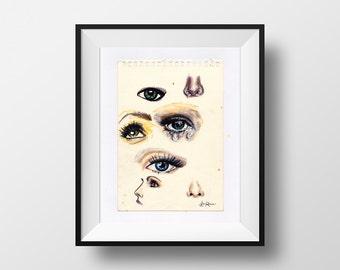 Eyes & Nose - illustration - giclee print
