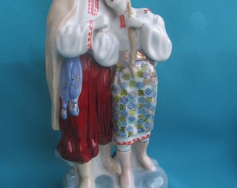 """Soviet porcelain figurine """"May Nigh"""" loving couple in national costumes ZHK USSR"""