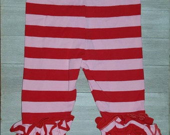 Size 6M -  Red/pink stripe ruffle leggings