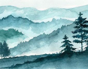 Mountains landscape. Original Watercolor Landscape Painting.