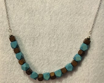 Teal and Brown Bead Necklace