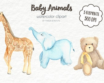 Watercolor Clip Art - Animals, Baby, Giraffe, Elephant, Bear, Zoo, Circus, Teddy, Baby Shower, Nursery, Instant Download, Infant, Cute