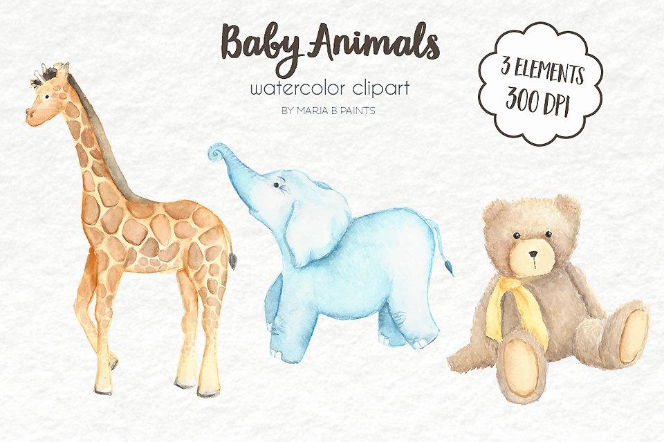 Watercolor Clip Art Animals Baby Giraffe Elephant Bear