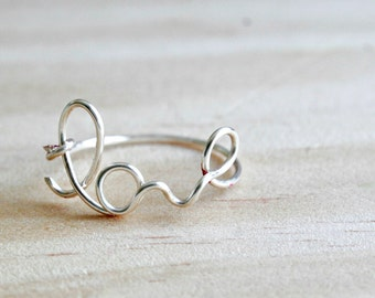 Cute Wire Love Ring Silver Gold Rose Gold Jewelry Bridesmaid Gift Handmade