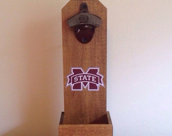 Wall Mounted Bottle Opener - Mississippi State Bulldogs