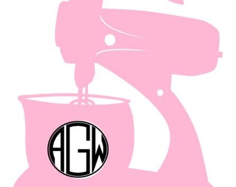 Monogram Kitchenaid Decal!  Mom or Baker Gift Personalized Gift Stand Mixer Monogram, Yeti Decal, Water Bottle Decal, Thermos, Shirt Iron On