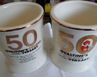 50th Anniversary Ovaltine Mugs, Vintage Ovaltine Mugs, Collectible Ovaltine Mugs, Orphan Annie Mugs, Ovaltine Mugs, Vintage Orphan Annie Mug