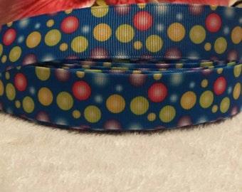 "3 yards, 7/8"" multi colored polka dot design grosgrain ribbon"