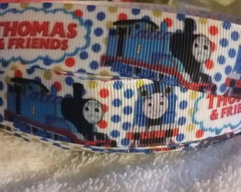 3 yards, 7/8' inspired by Thomas the train grosgrain ribbon