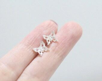 Silver Butterfly Earrings, Butterfly Stud Earrings, Butterfly Earrings, Simple Butterfly Earrings, Butterfly Ear Studs, Butterfly Post