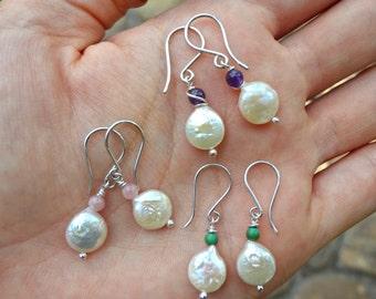 Pearl Earrings Button Shape