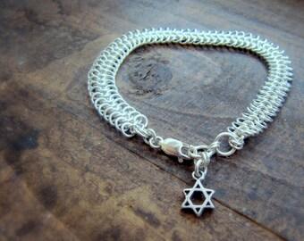 Silver Link Bracelet, Chain Link Bracelet, Chunky Chain Bracelet, Chainmaille Jewelry, Silver Chain Bracelet