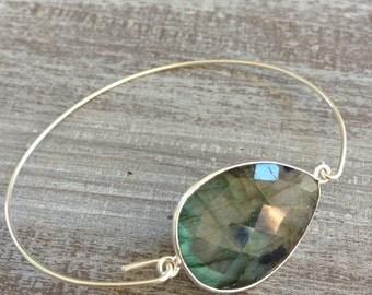 Silver bracelet Labradorite