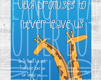 Promises of God illustrated giraffe wall art DIY printable, Hebrews 13:5, Bible Verse, Playroom/Kids room/nursery animal decor -INSTANT D/L