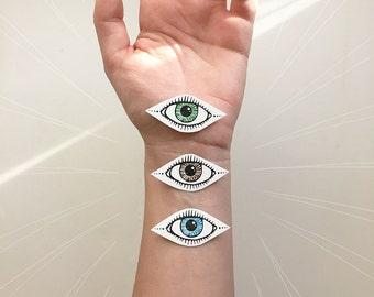 Eye Temporary Tattoo, Single Eye, Third Eye, Symmetrical Tattoo, Blue, Green, or Brown Eye Tattoo
