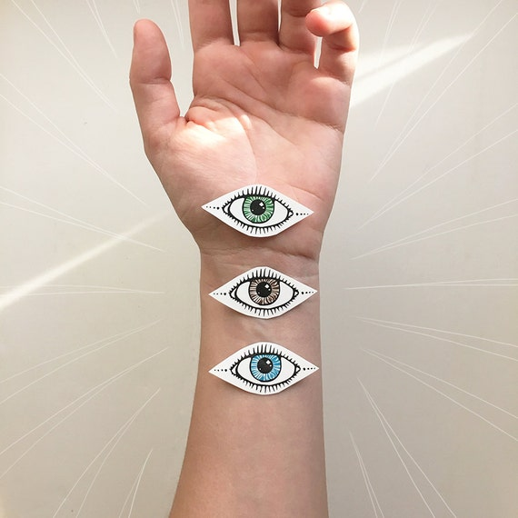 Eye Temporary Tattoo, Collection of 2, Choose Blue, Green, or Brown, Third Eye Tattoo Design