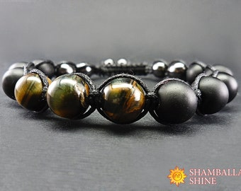 Healing energy bracelet Mens gemstone bracelet Black mens bracelet Shungite bracelet Hawk eye bracelet Energy mens jewelry Beaded bracelet