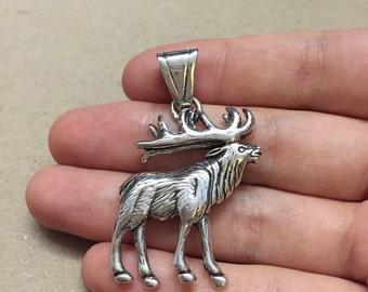 Vintage GS Sterling silver handmade pendant, solid 925 silver elk pendant, Native American, southwestern, stamped Sterling, GS