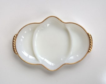 Milk glass serving dish, divided, by Fire-King, 1960s