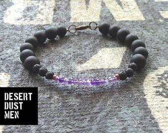 Amethyst bracelet men, Mens amethyst bracelet, Amethyst, lava and onyx for men