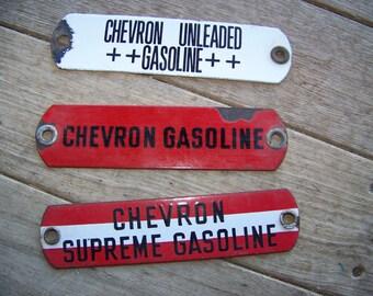 Three 3 Vintage Chevron Gas Gasoling key tags