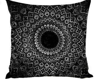 Black Mandala Pillow Case -Multiple Sizes - Sacred Geometry Pillow Sham