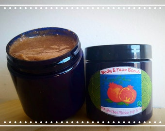 Shea butter Rose hip & Soy Scrub (4oz)