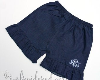 Denim Ruffle Short/Kid's Denim Short/Monogram Short