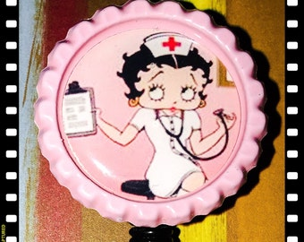 Betty Boop Retractable ID Name Reel Badge Pull with alligator Clip