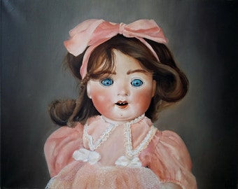 Doll with blue eyes, painting, Exhibition painting, original painting, pop art, dolls painting, dolls art, painting with dolls, oil painting