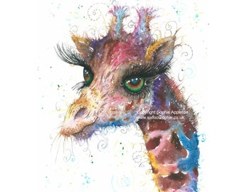 Watercolour Emerald Giraffe - A4 Watercolour Painting printed on watercolor paper, each is hand signed by Sophie Appleton