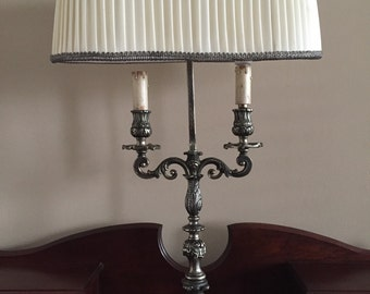 Antique italian rococo table lamp with silk shade