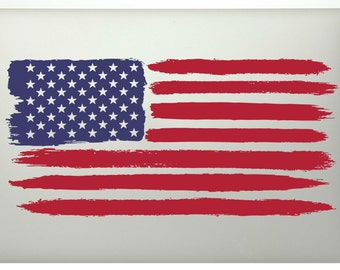 USA brushed American flag vinyl decal sticker for cars, trucks, window decal,laptop, etc.