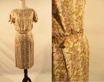 1950's Silk Floral Print Short Sleeve Dress