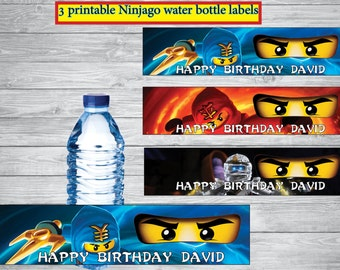 Ninjago water bottle labels,Ninjago Birthday invitation , Ninjago birthday,  Ninjago party, Ninjago, birthday party - personlized