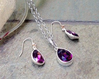SET, Amethyst Swarovski®  crystal necklace and earrings