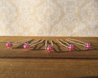 Hot Pink Wedding Hair Pins, Updo Hair Pins, Bridesmaid Hair Pins, Hair Accessories, Pink Hair Pins, Hot Pink Hair Clips, Hot Pink Bobby Pins